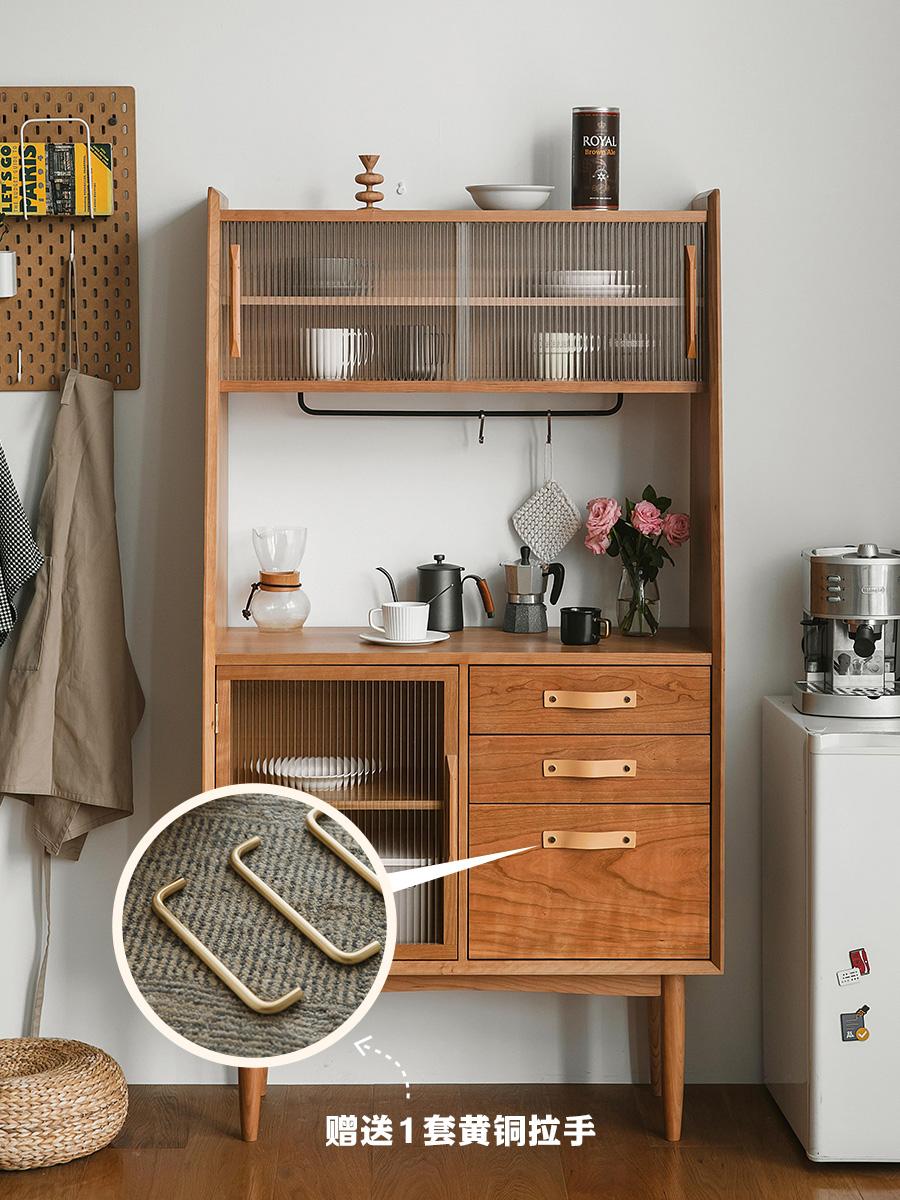 木邻多多餐边柜北欧厨房碗柜储物柜简约家用茶水柜樱桃木实木边柜_图2