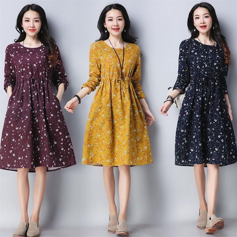民族连衣裙棉麻风长袖2018春季新款宽松大码裙子印花中长款女装