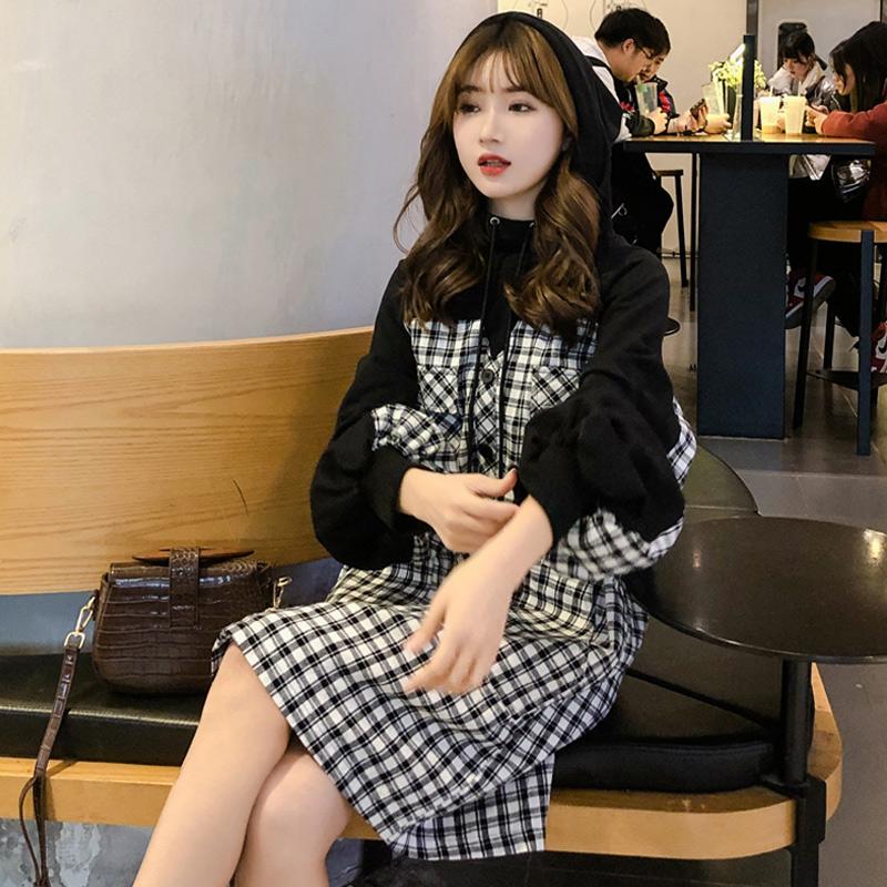 袖子泡泡格子拼接卫衣女假两件中长款韩版宽松春秋衬衫薄款条纹袖