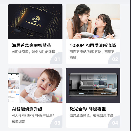 Huawei Smart Selection Puffin AI panoramic camera Smart phone remote housekeeping 1080P PTZ 360-degree camera night vision network teaching wireless panoramic view without dead angle alarm reminder monitor