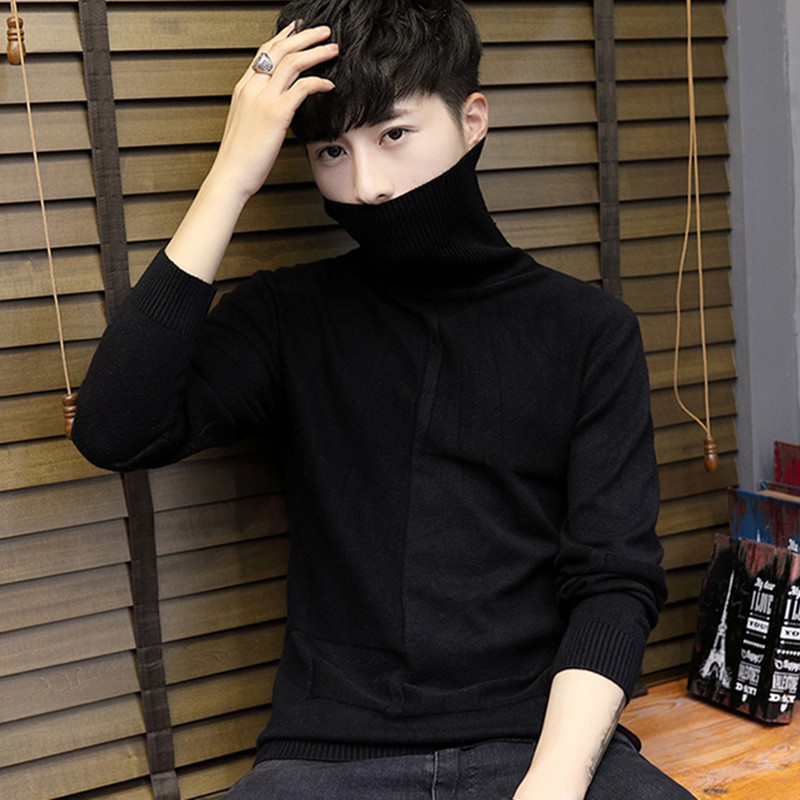 Youth Winter high collar knitwear mens Korean slim sweater trendy mens Pullover Plush sweater
