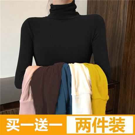 | Цена 994 руб | Высокий воротник свитер женщина с длинными рукавами осень и зима корейский тонкая модель плотно поездка t футболки западный стиль тонкий куча чёрная куртка