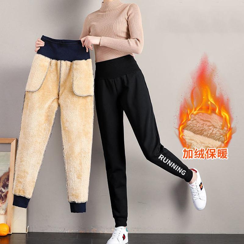 加绒加厚羊羔绒保暖裤高腰裤女休闲裤