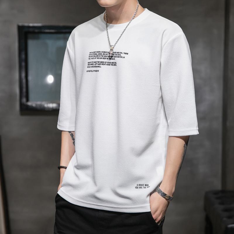 潮男帮男士七分袖短袖t恤夏季韩版五分袖打底衫宽松简约半袖上衣