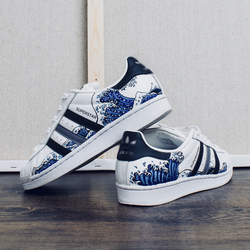 f7af601bfaa9 (YIP Store) shoe DIY custom hand-painted custom Japanese-style  ukiyo-picture wave AD shell head painting