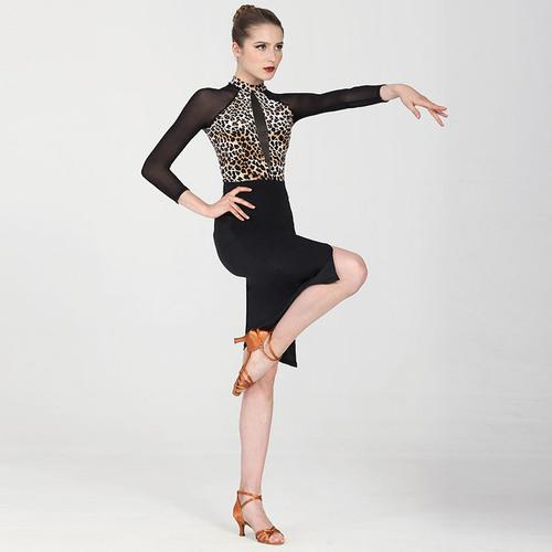 Ballroom latin dance bodysuit for women Leopard print adult Latin dance training dress womentop open back sexy mesh long sleeve one piece suit professional dance clothes