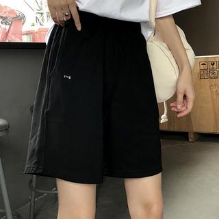 Женская одежда,  Шорты женщина лето свободный ins черный пять филиал спортивный досуг талия широкий брюки тонкий студент дикий BF волна, цена 550 руб