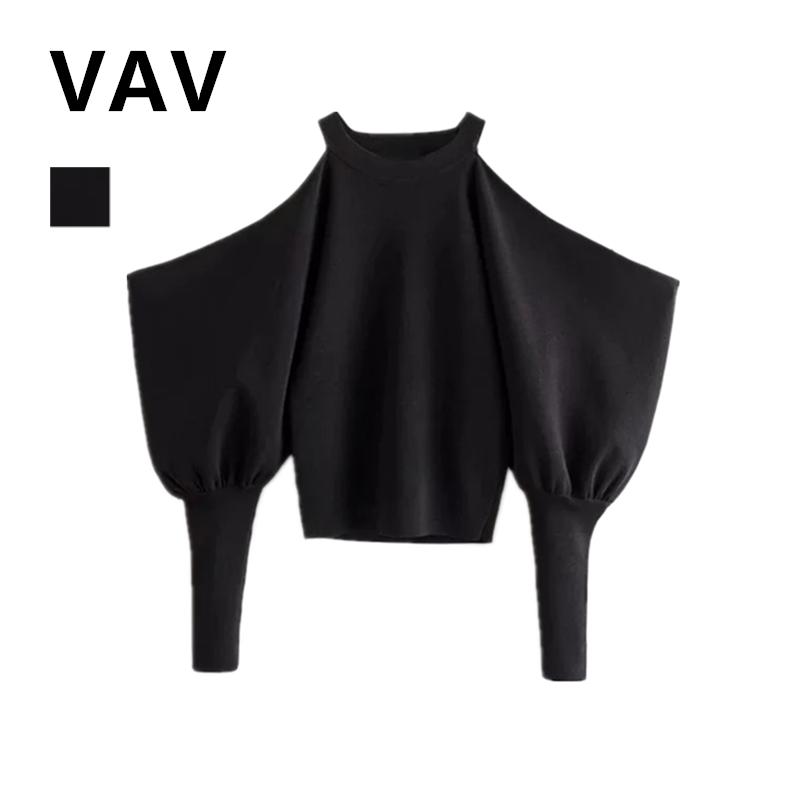 Thiết kế thích hợp Đèn lồng tay cao eo ngắn phần áo len lệch vai đa năng thon gọn eo cao phần ngắn áo thun nữ - Đan Cardigan
