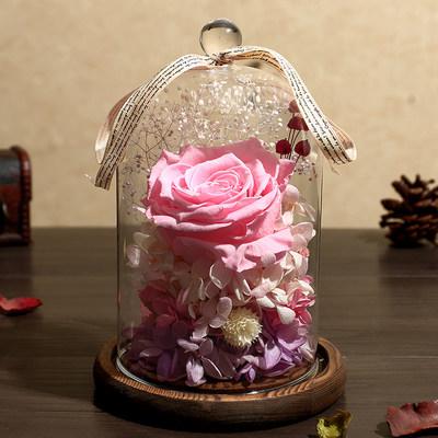 永生花礼盒玻璃罩玫瑰摆件保鲜干花真车载爱人情人节生日七夕礼物