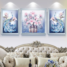2019 diamond painting full diamond cross stitch diamond embroidered new living room stickers diamond peacock magnolia brick stone triple painting round diamond