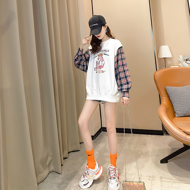 Fake two pieces of women's clothing 2020 new spring and autumn Korean version of loose salt thin coat ins tide clothes 48 Online shopping Bangladesh