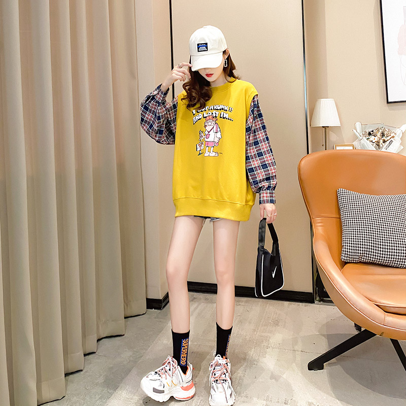 Fake two pieces of women's clothing 2020 new spring and autumn Korean version of loose salt thin coat ins tide clothes 40 Online shopping Bangladesh