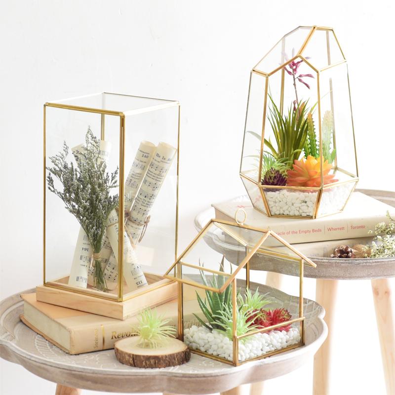 北欧铜边玻璃罩酒柜几何体陈列装饰品客厅摆件花房样板房创意摆设