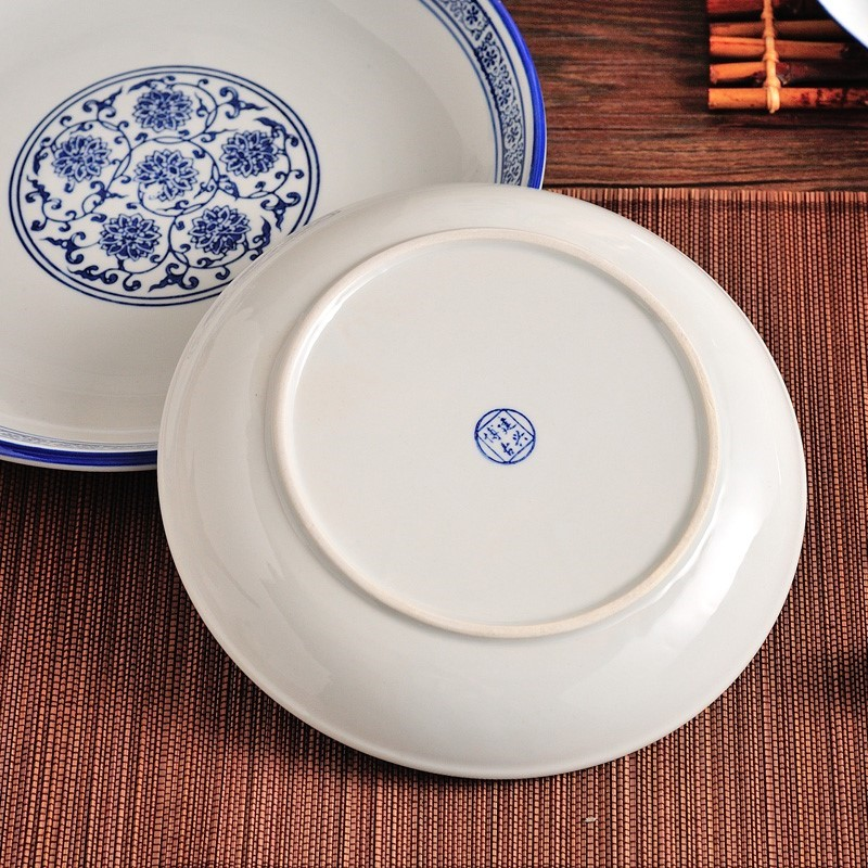 Blue and white porcelain dish dish dishes old-fashioned ceramic dishes Chinese domestic soup dish rice dish deep dish dish dish