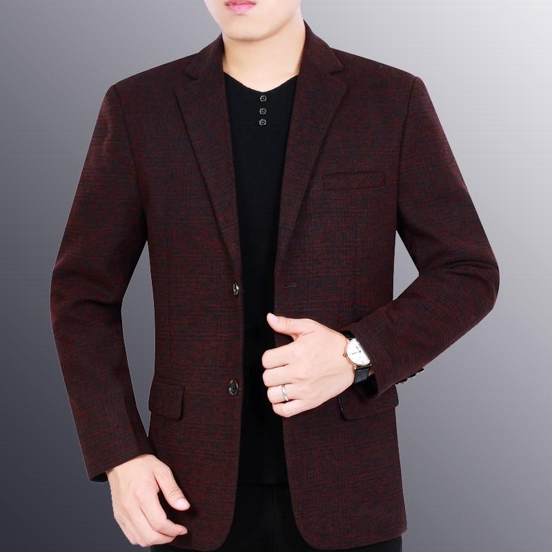 2019春秋新款中年西服商务v西服男士单件上衣薄款韩版帅气外套西装