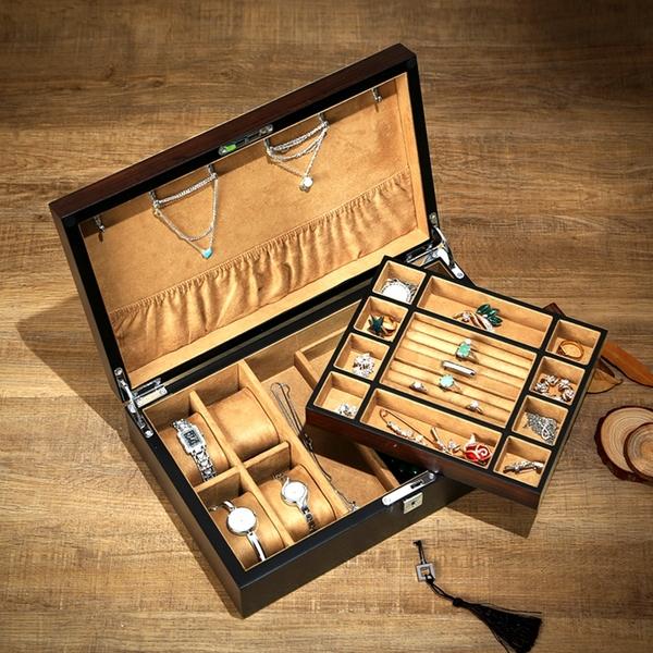 乌金木质珠宝首饰盒实木双层大容量饰品手表首饰一体收纳盒展示盒