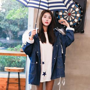 新款韩版宽松加绒加厚牛仔外套