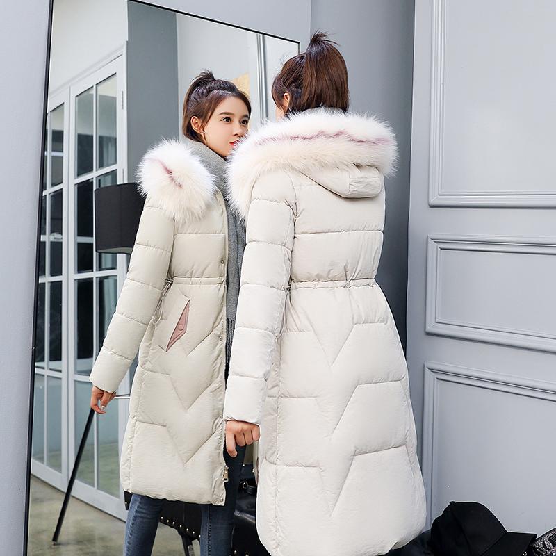 2019新款羽绒外套女冬季中长款韩版修身大毛领过膝加厚棉服棉衣潮