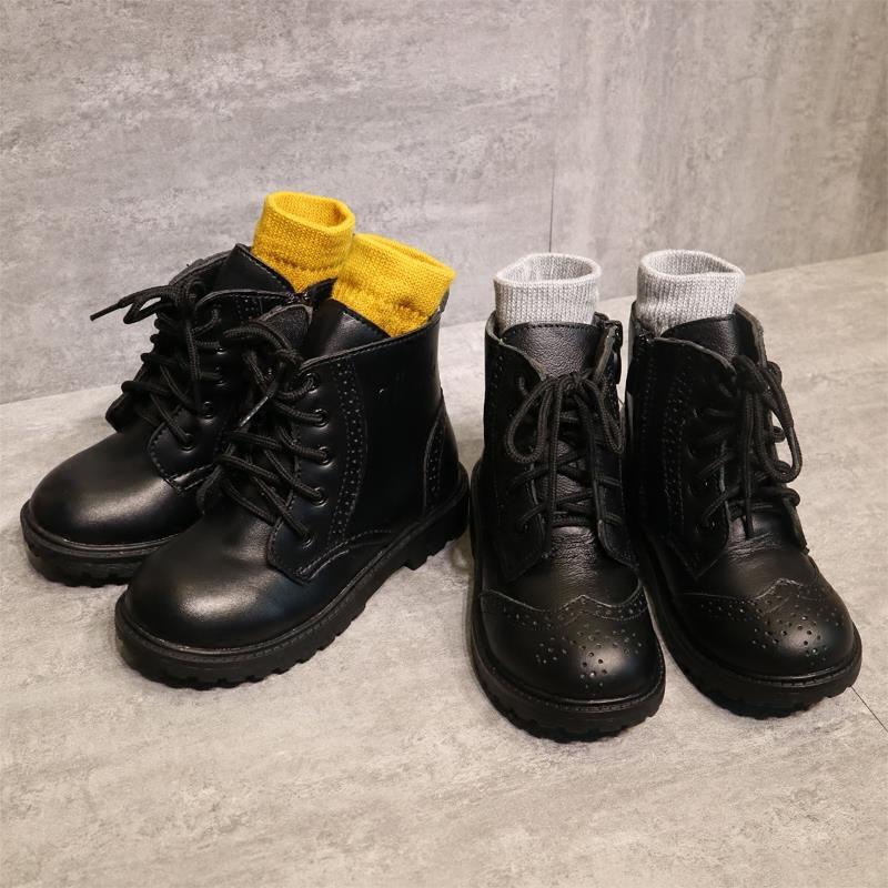 儿童鞋高帮皮鞋女童童女男童英伦风版短靴宝宝中大软底马丁单靴