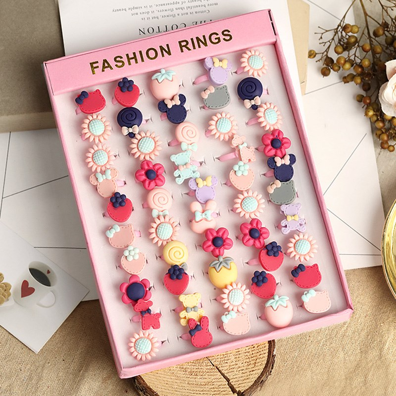 Children's ring female Princess cute plastic little ring girl baby cartoon jewelry little girl toy gift box