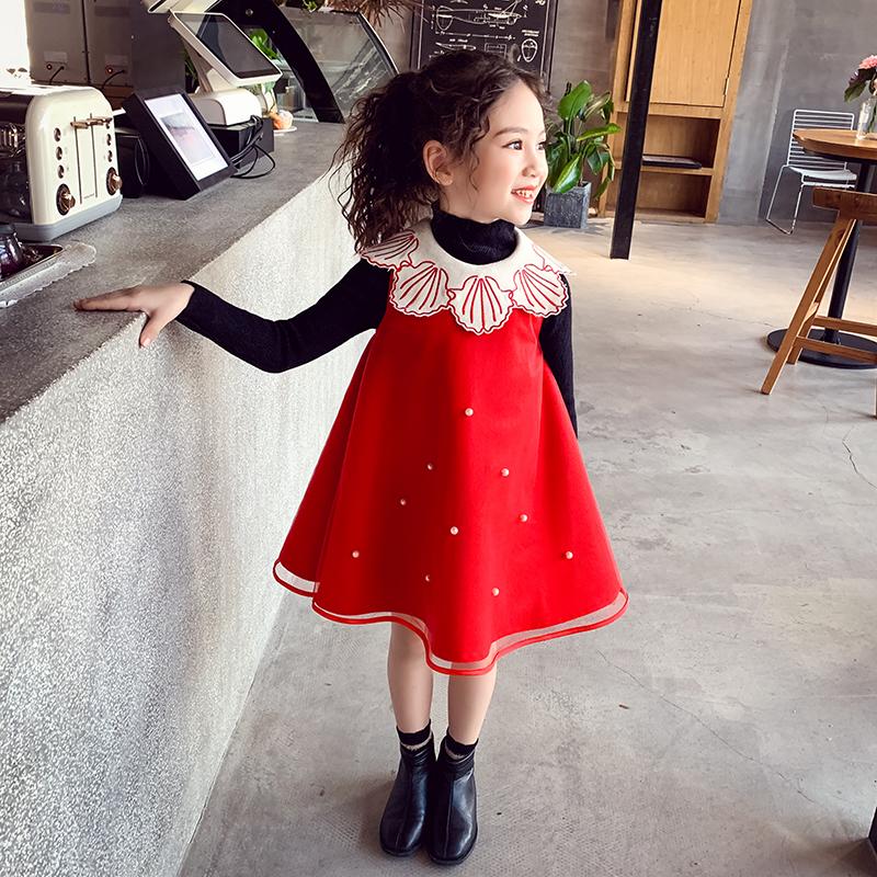 女童红色公主裙2019新款女孩冬装加绒背心裙中大童马甲连衣裙