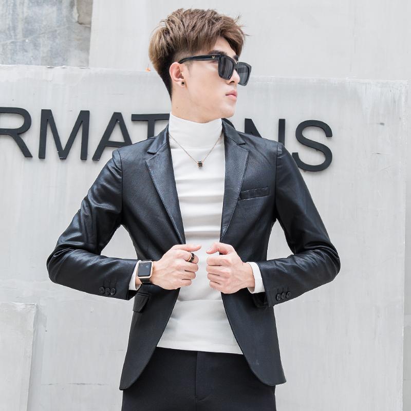 男士男机车西装修身韩版帅气外套秋冬季短款皮衣PU皮夹克青年潮流