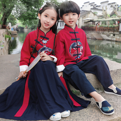 Childrens Chinese Hanfu, female cheongsam, 12-year-old thin girls ancient costume, super immortal suit, Chinese style Tang suit, boys and young masters clothes