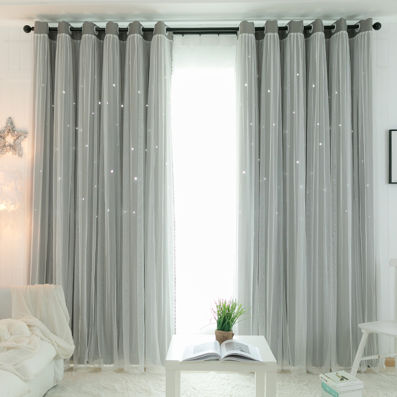 Net red curtain Nordic simple modern blackout bedroom living room gauze ins girl princess wind window curtain fabric