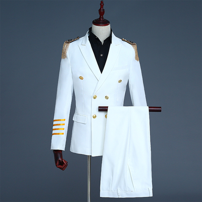 Double-breasted suit dress uniforms male captain suit fringed epaulets dress costumes presided DJ personality suits