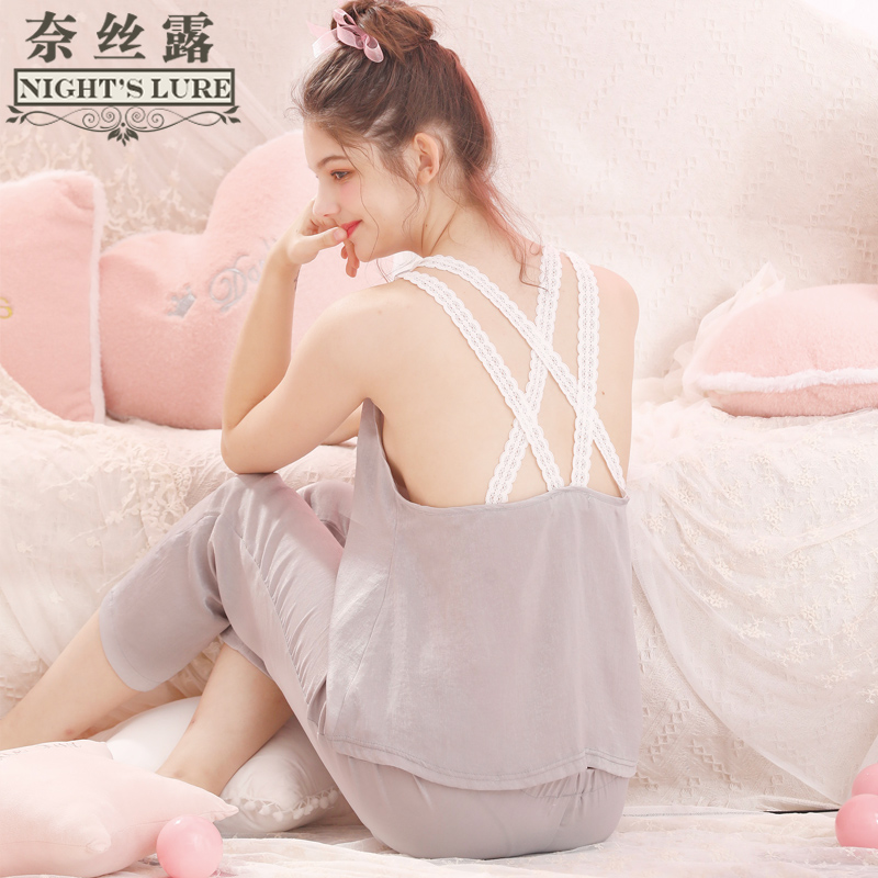 Sexy loose comfortable chiffon suspenders underwear women s pajamas thin  section home service one-piece shirt summer no chest pad 12b369cec