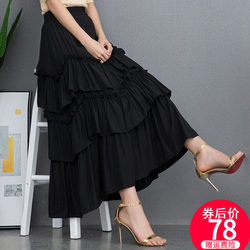 Ice silk cake skirt 2020 spring and autumn new multi-layer irregular skirt mid-length ins super hot big skirt summer