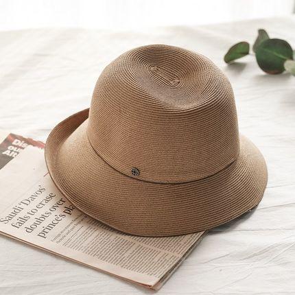 盆帽女天柔软可折叠夫帽特细密小沿休闲太阳帽卷边