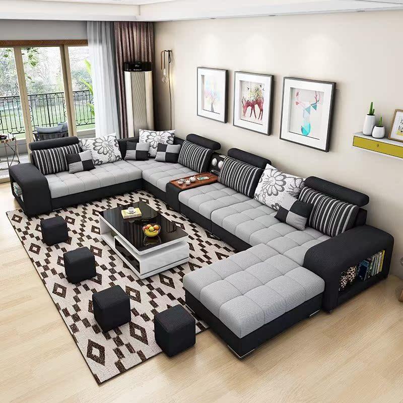 布艺茶几北殴家用小客厅网红款沙发电视柜组合户型套装北欧办公简