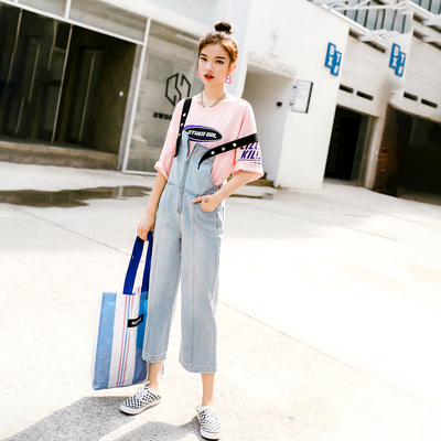 Seven princess light-colored denim overalls female new summer influx of students loose straight pant child