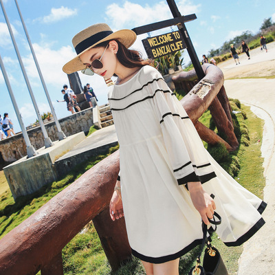 pphome skirt summer new female literary chiffon dress was thin and long sections cold wind skirt female