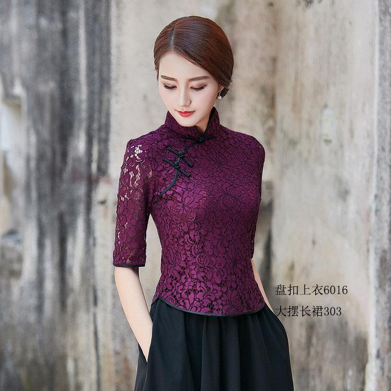 经典短款旗袍上衣蕾丝夏装新款显瘦中式盘扣时尚改良女士唐装礼服