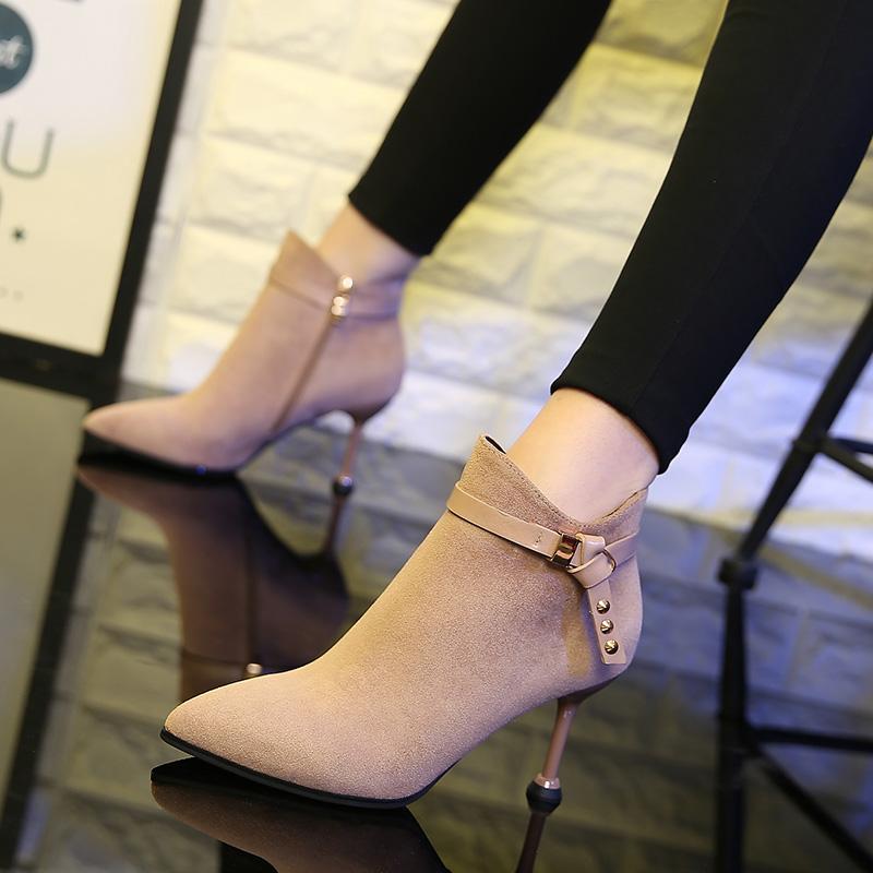 专柜洛百丽正品牌小跟短靴女春秋细跟马丁靴2019新款高跟鞋秋冬瘦