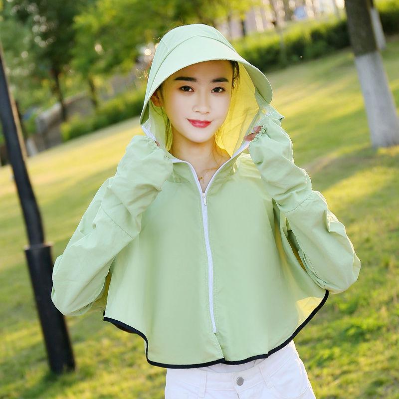 2020夏季新款骑车防晒衣女短款防晒衫韩版遮阳透气防晒服