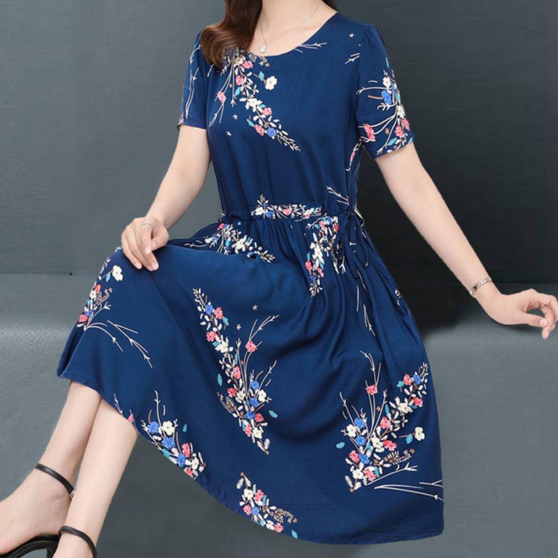 中老年女装夏装棉绸连衣裙过膝中长款中年妈妈装短袖大码绵绸胖mm
