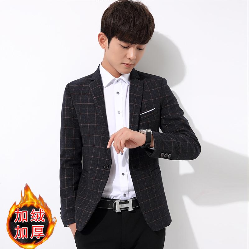 2018休闲西装外套男格子小西服男士韩版新款潮流修身加绒加厚单件