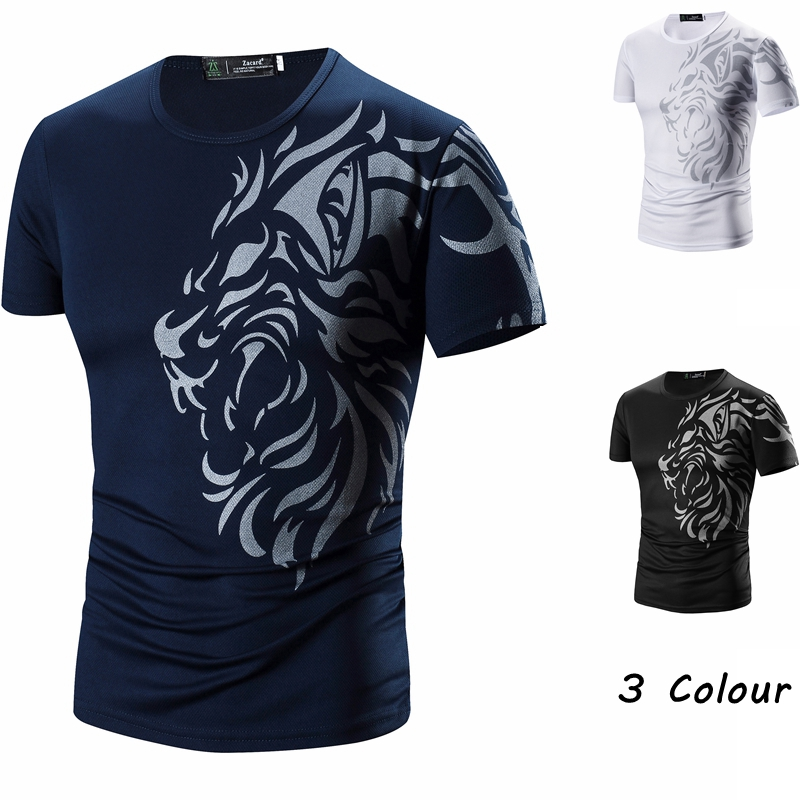 Tattoo Printed Short Sleeves Crew Neck Men T Shirts Summer Casual ...