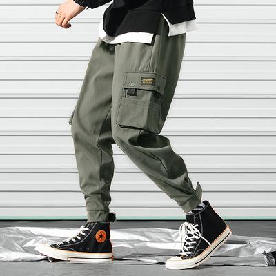 弗朗约翰爆款4色男式棉质休闲裤多口袋工装裤男魔术贴户外束脚裤