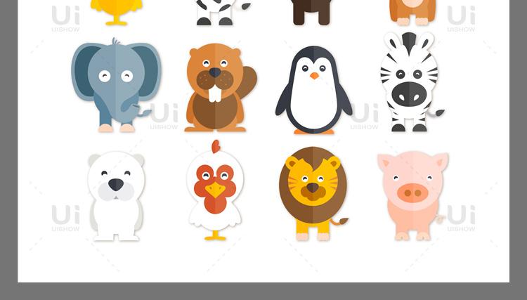 卡通可爱Q版企鹅狐狸老虎猪兔猫动物logo形象背景设计矢量图素材插图(20)