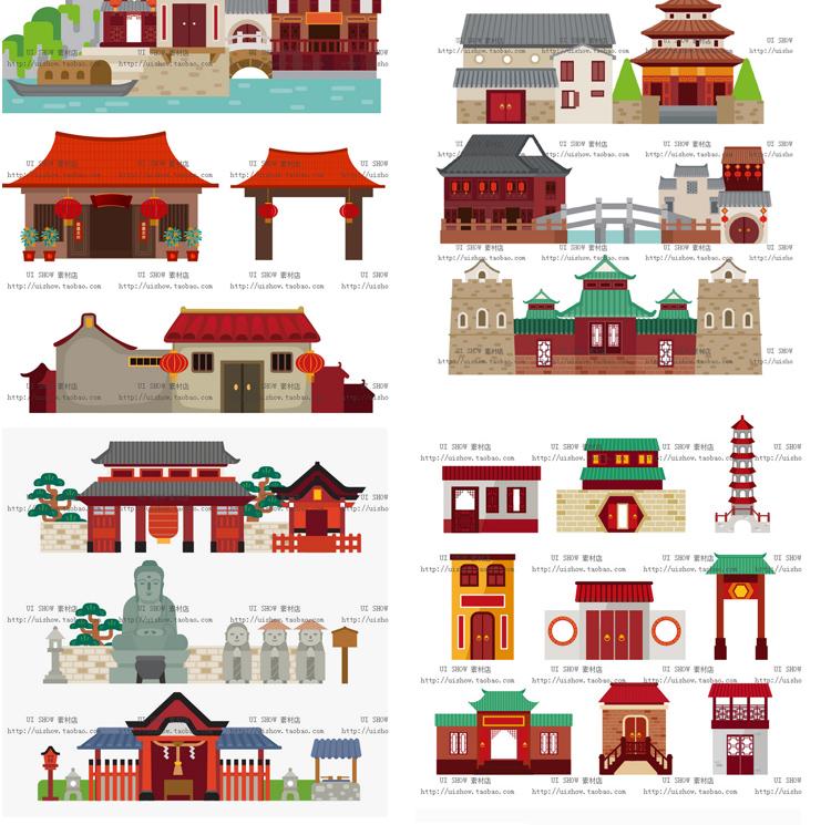 扁平化卡通中国风古代日本建筑矢量镇ui海报背景设计banner素材图插图(8)