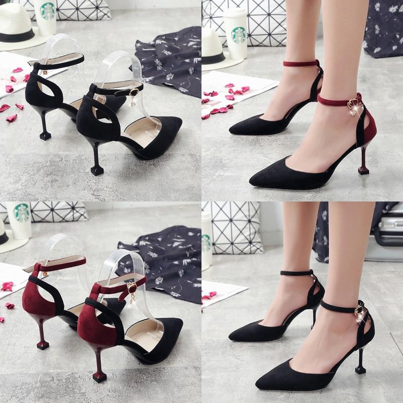 高跟鞋女春季新款扣鞋细跟尖头黑色绒面中空鞋