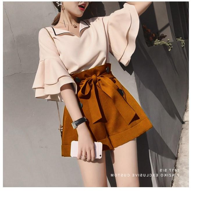 2018夏季新款时尚韩版港味两套装高腰阔腿件套小风香女装短裤女潮