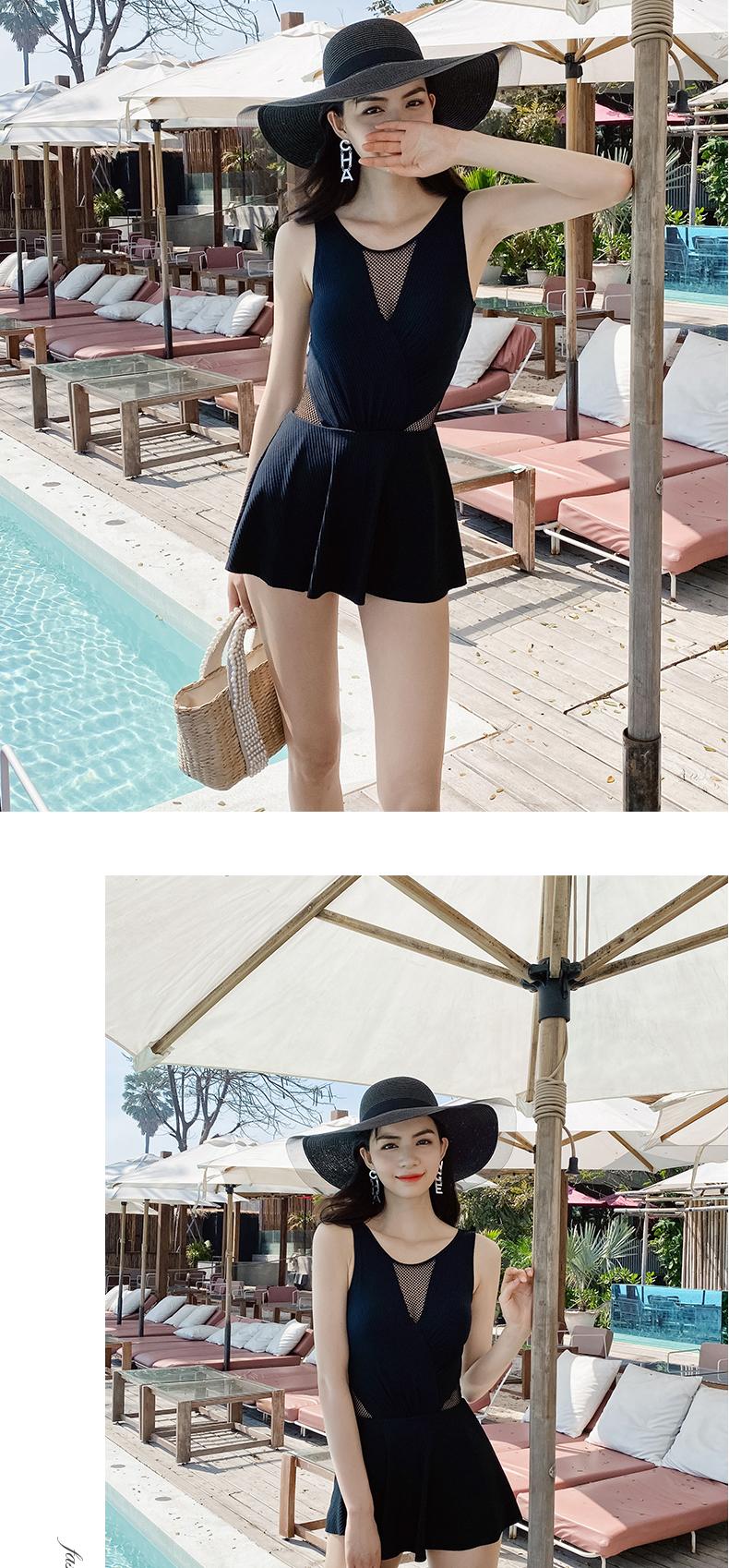 新款泳衣女夏显瘦遮肚温泉连身裙式保守小胸聚拢性感韩国详细照片