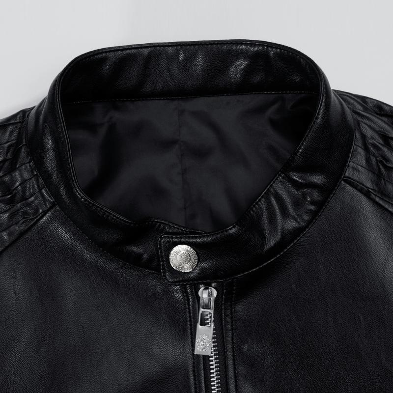 千纸鹤冬季新品男士皮衣短款加棉夹克外套青年PU仿真皮机车皮夹克