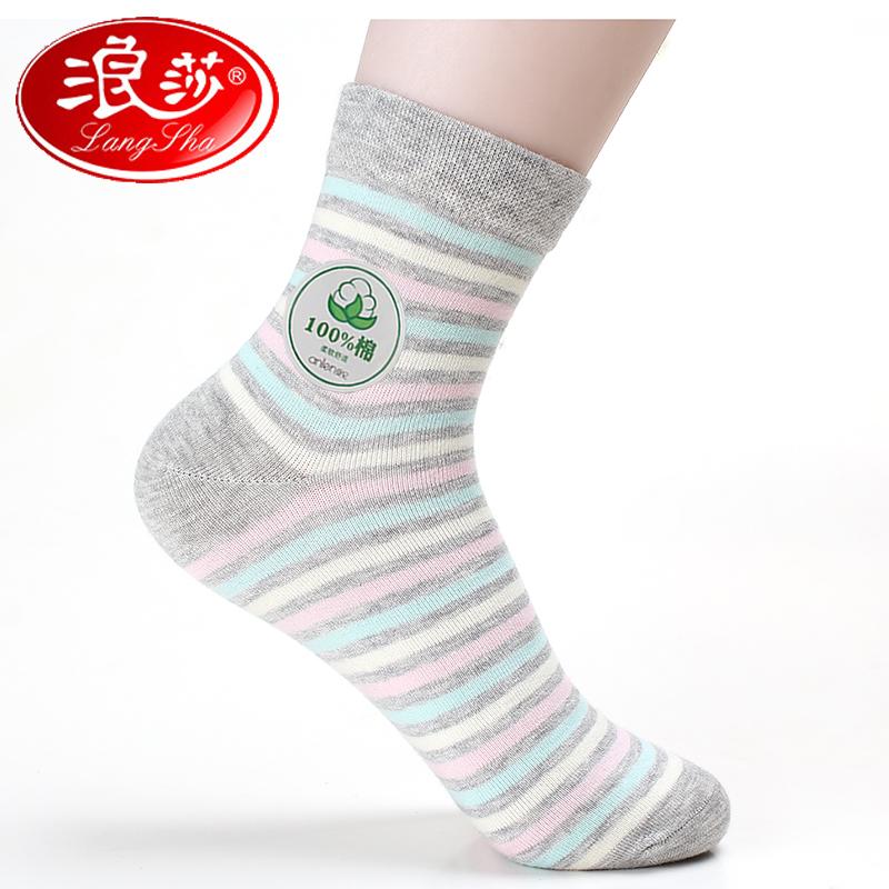 1双包邮 浪莎袜子女秋冬款纯棉中筒袜运动袜防臭短袜厚棉袜100%棉