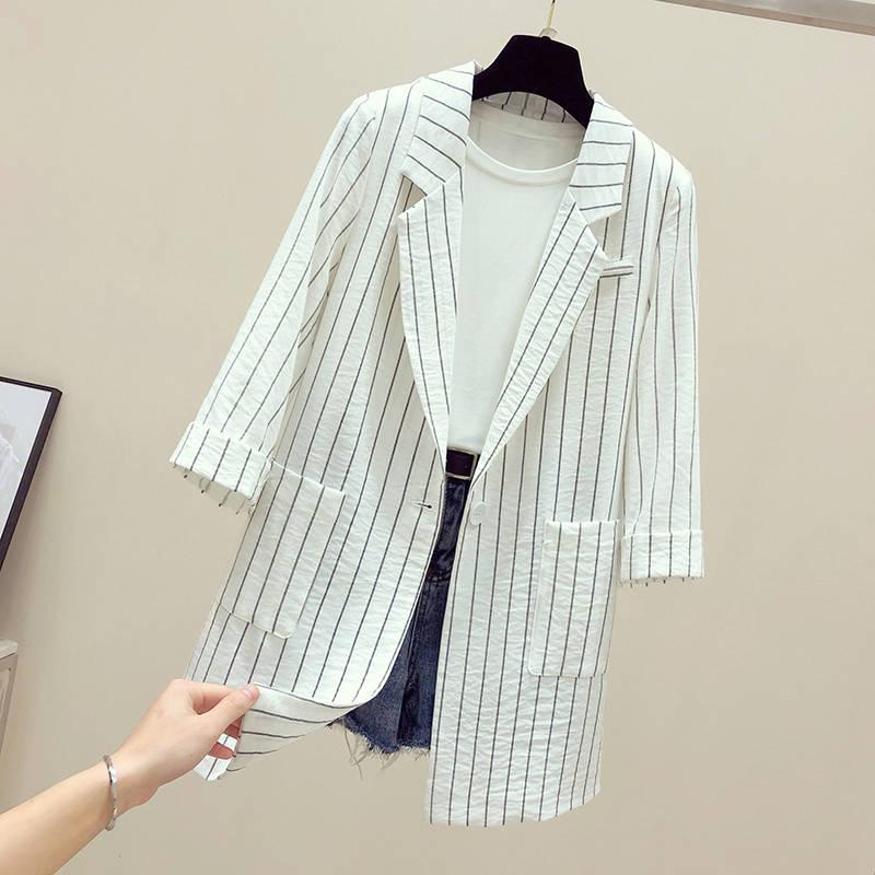 夏季条纹西服小西装外套女中长款网红v条纹风衣防晒衣韩版薄款透气